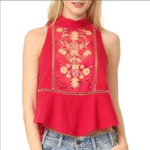 🍍FP Embroidered Tropical Lace Tank Top💕